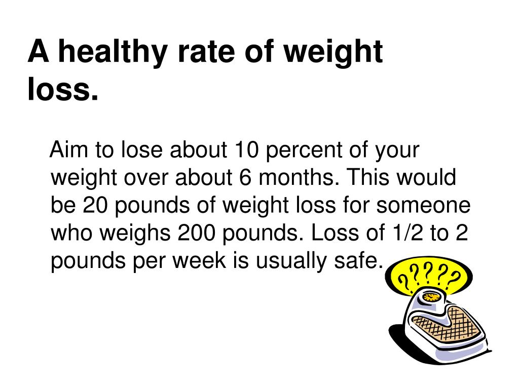 A healthy rate of weight loss.
