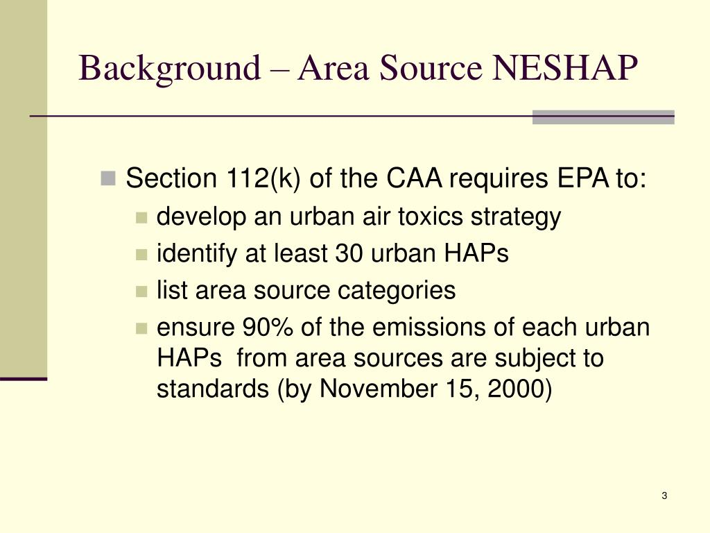Background – Area Source NESHAP