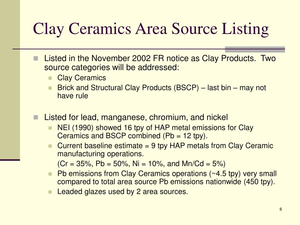 Clay Ceramics Area Source Listing