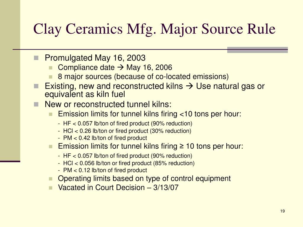 Clay Ceramics Mfg. Major Source Rule
