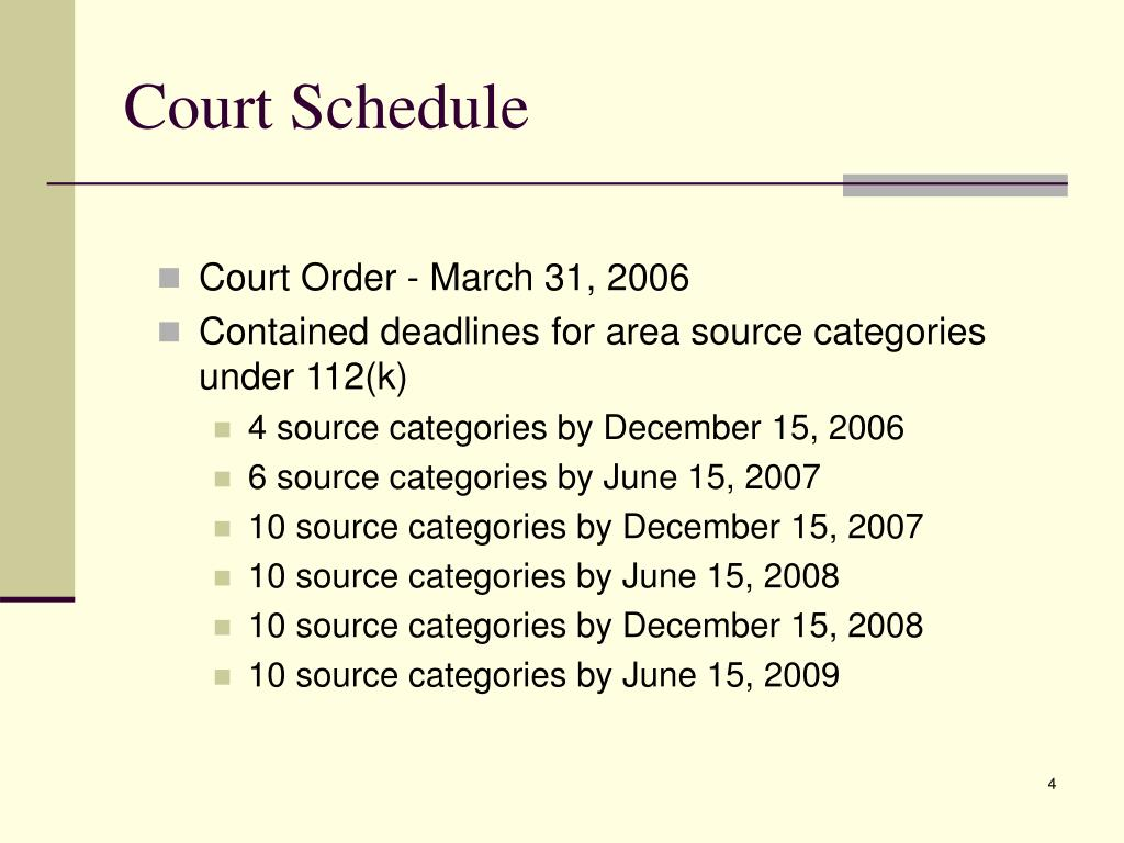 Court Schedule