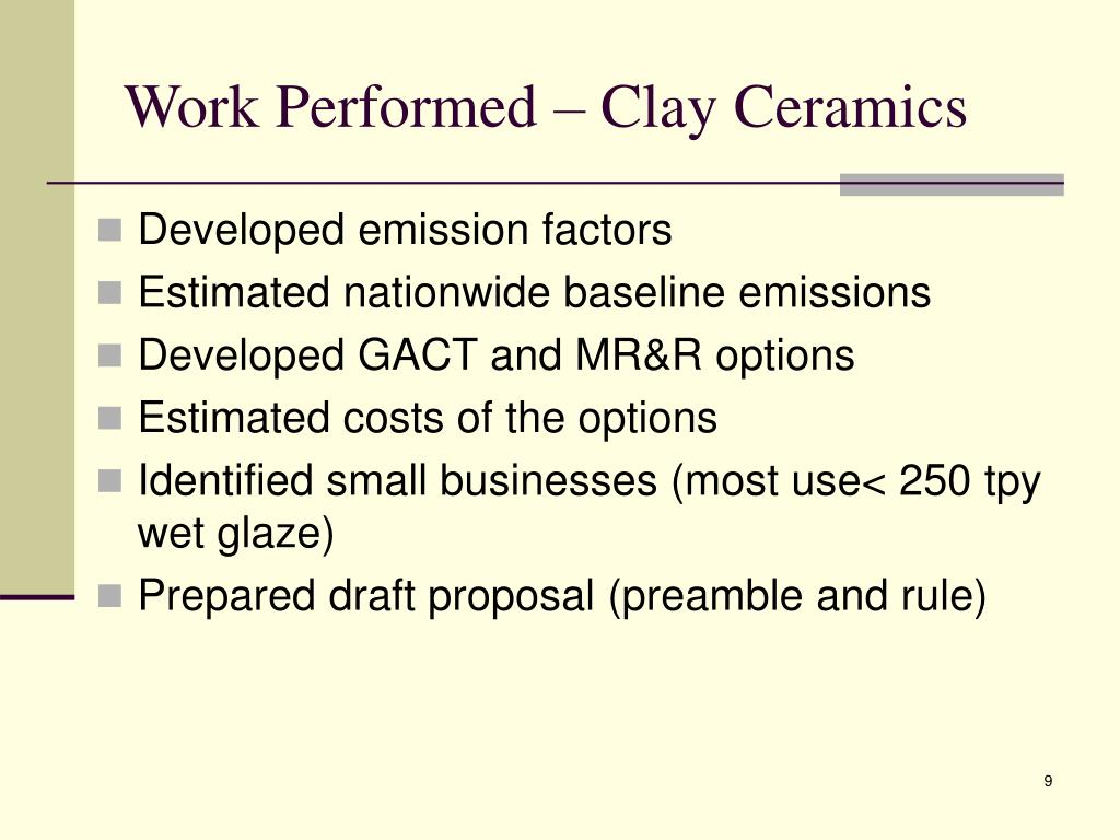 Work Performed – Clay Ceramics