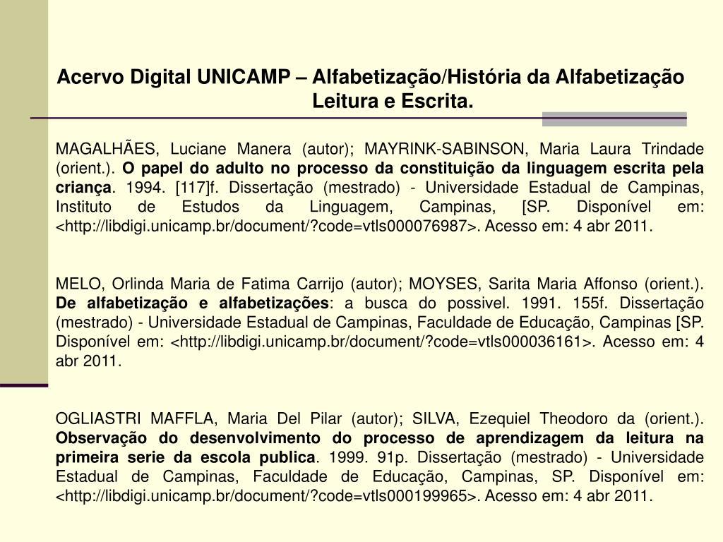 Acervo Digital UNICAMP – Alfabetização/História da Alfabetização