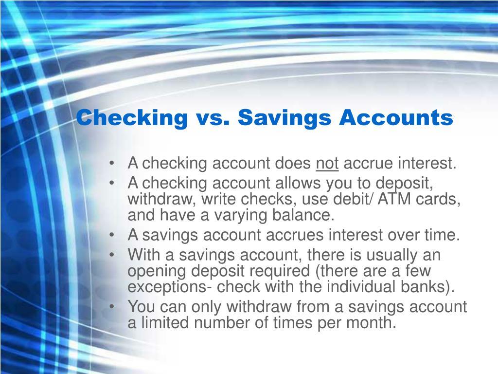 Checking vs. Savings Accounts