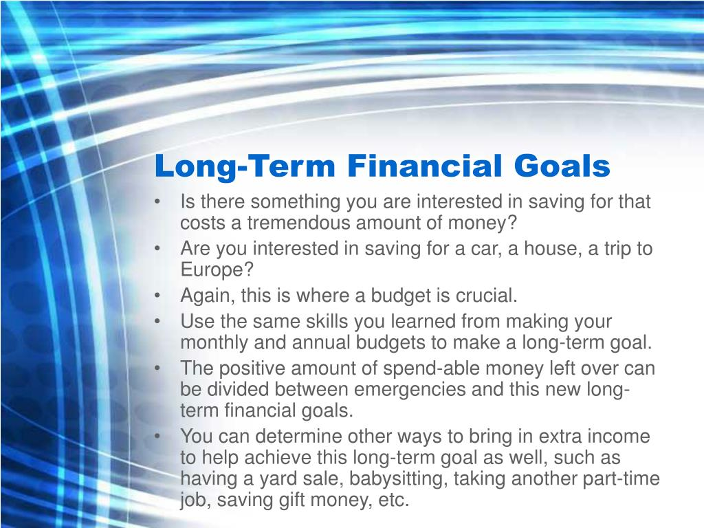 Long-Term Financial Goals