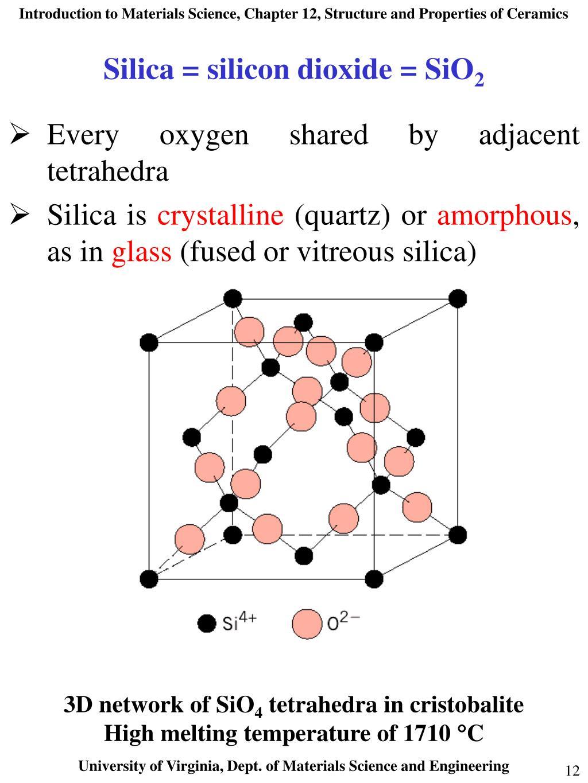 Silica = silicon dioxide = SiO