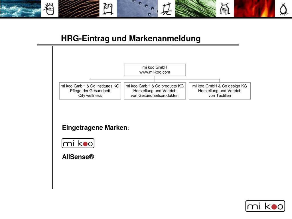 HRG-Eintrag und Markenanmeldung