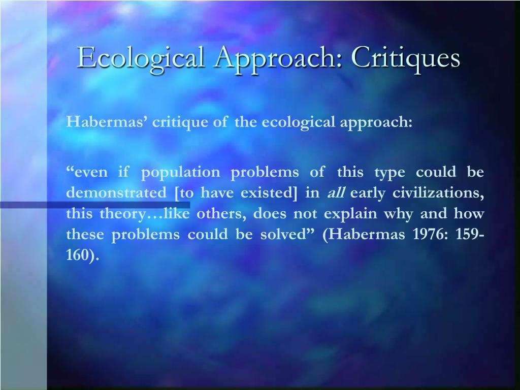 Ecological Approach: Critiques