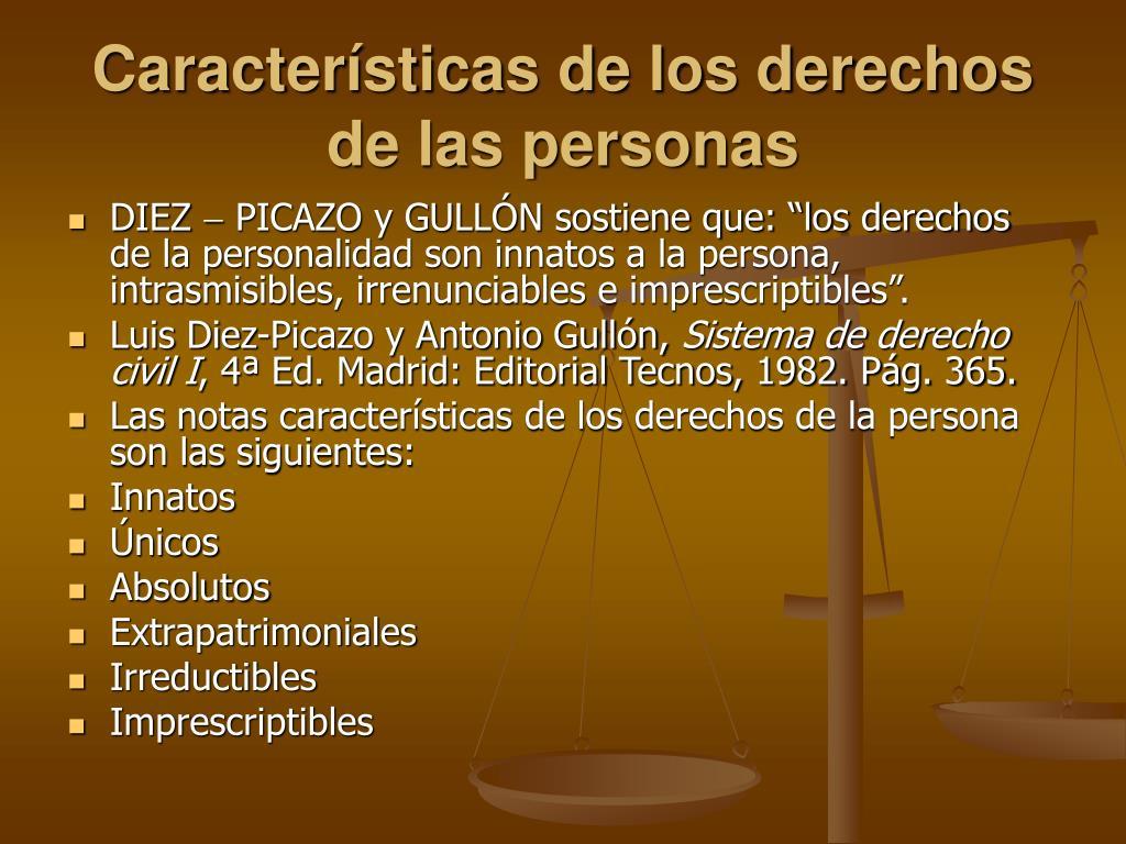 Características de los derechos de las personas