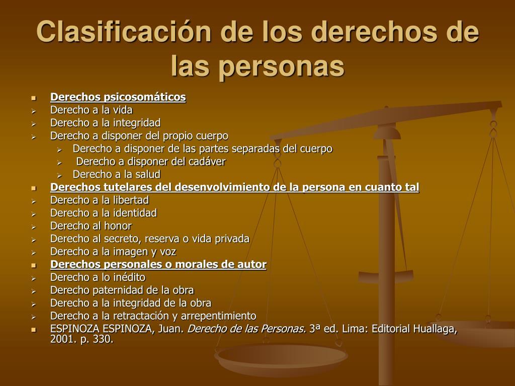 Clasificación de los derechos de las personas