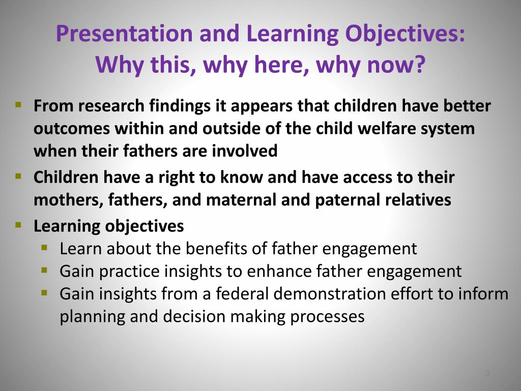 Presentation and Learning Objectives: