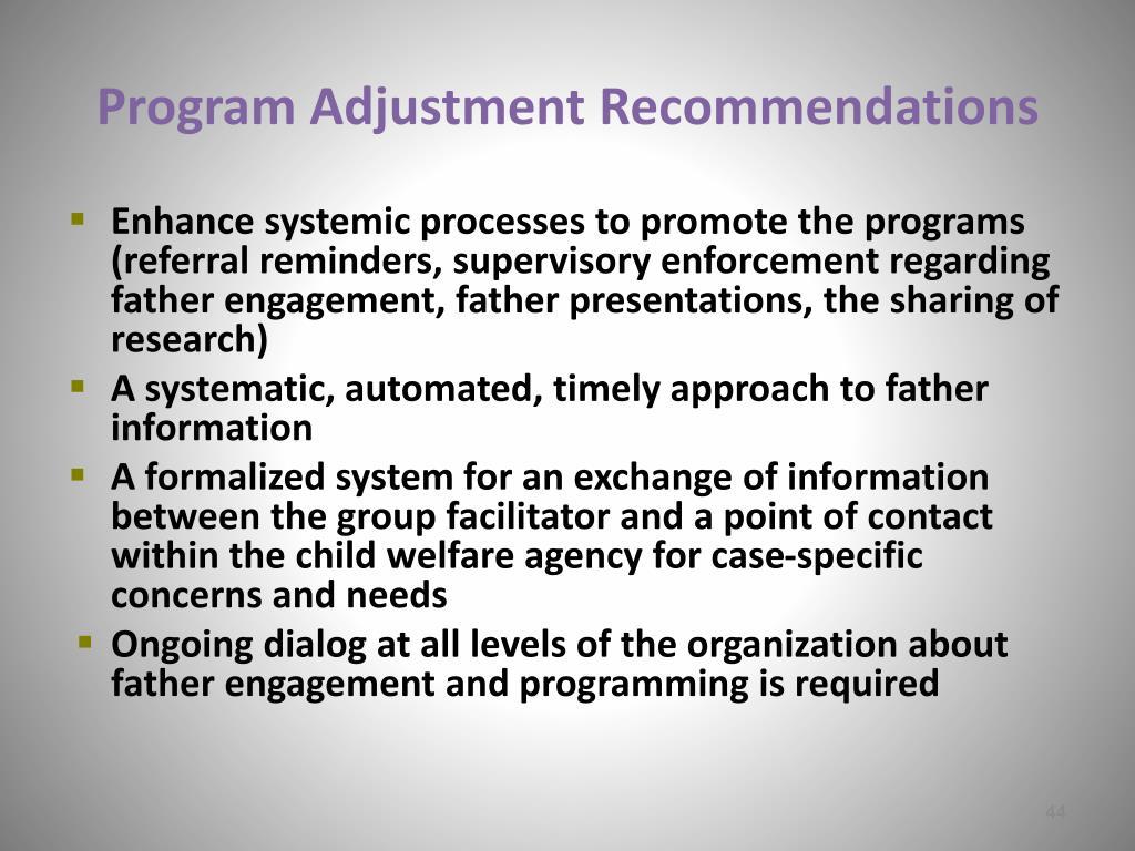 Program Adjustment Recommendations