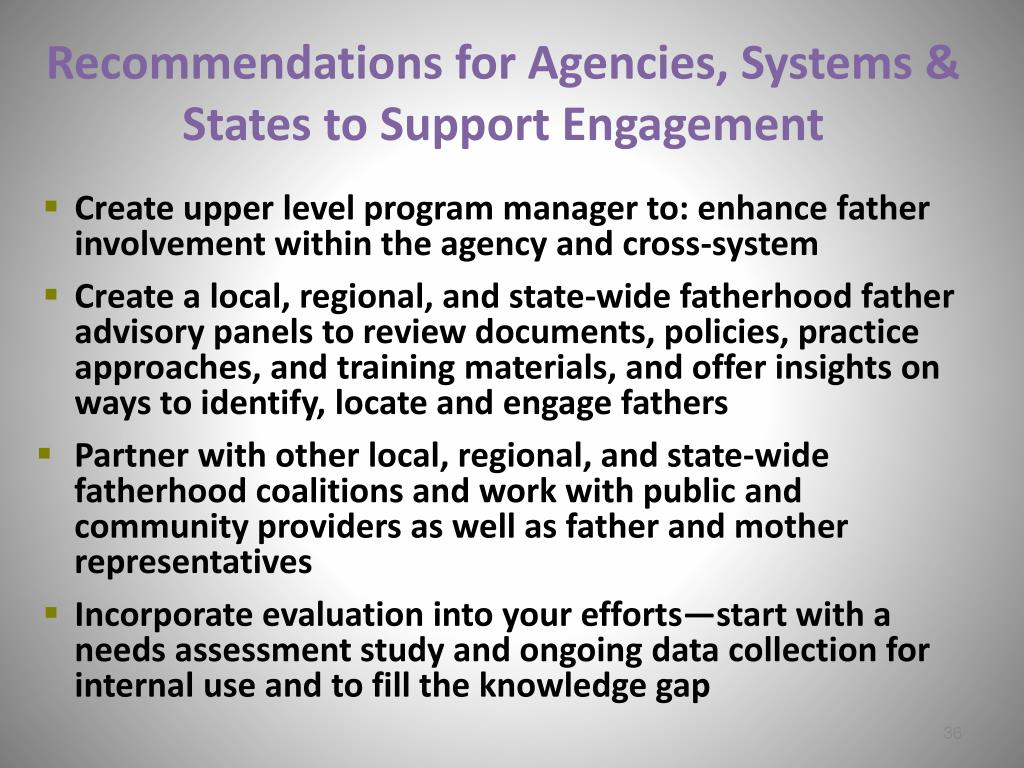 Recommendations for Agencies, Systems & States to Support Engagement