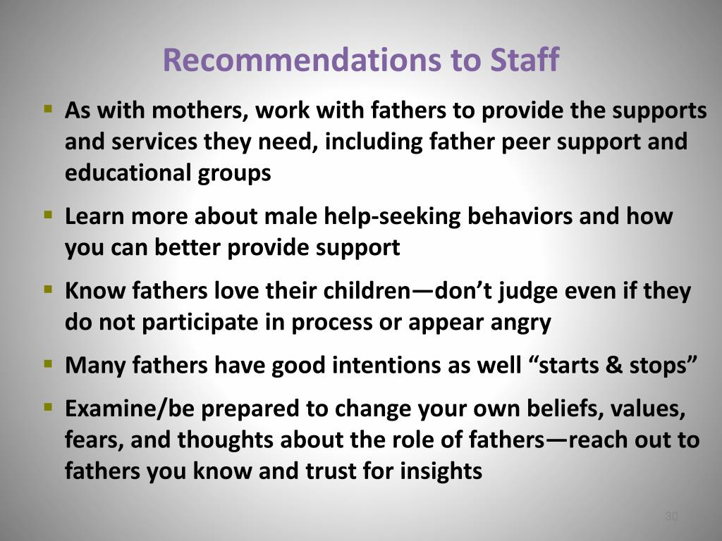 Recommendations to Staff