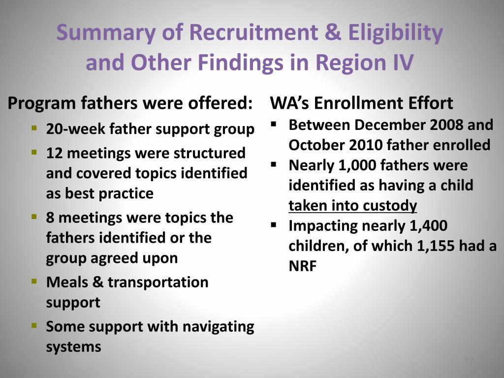 Summary of Recruitment & Eligibility