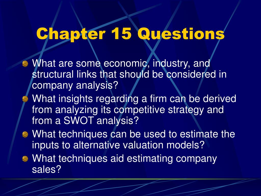 Chapter 15 Questions