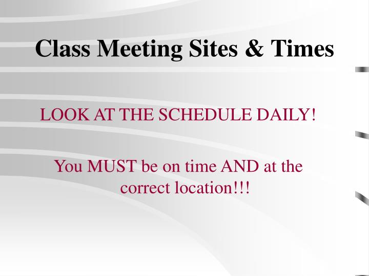 Class meeting sites times