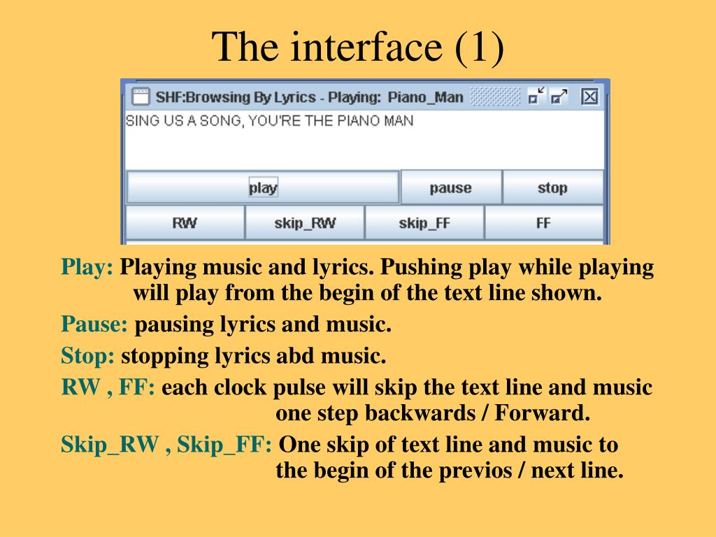 The interface (1)