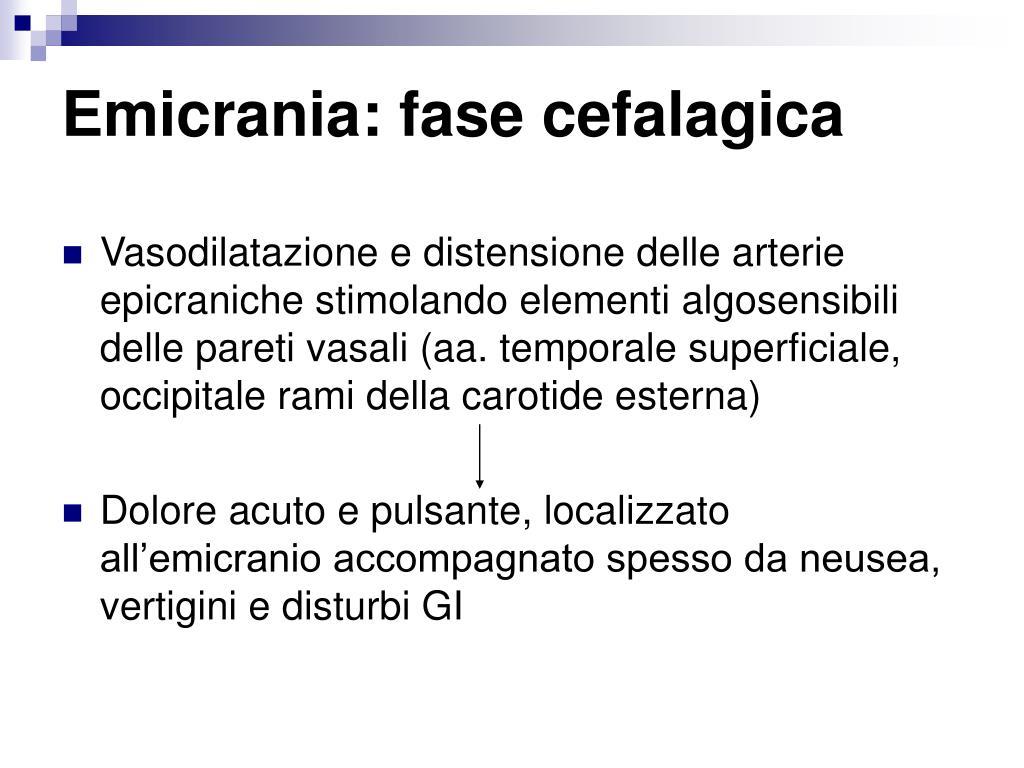 Emicrania: fase cefalagica