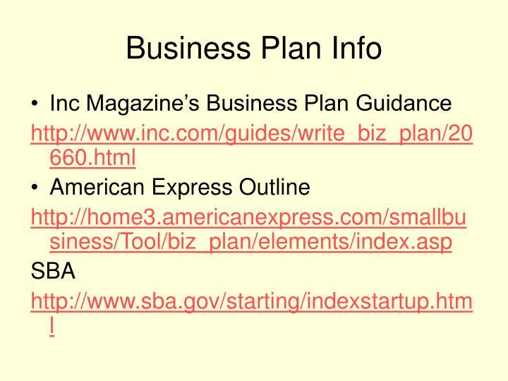 Business Plan Info