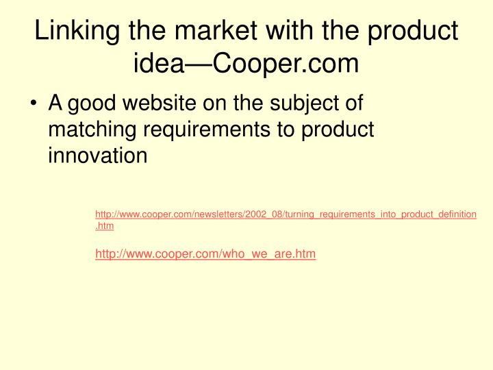 Linking the market with the product idea—Cooper.com