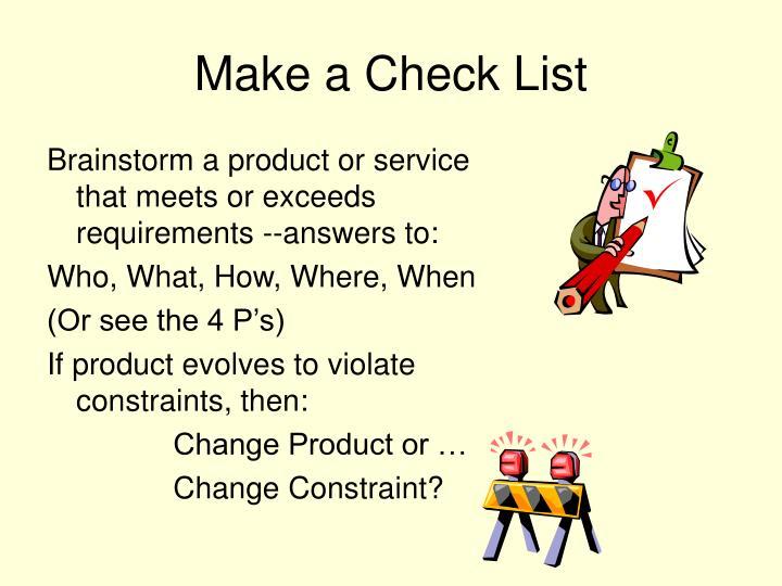 Make a Check List