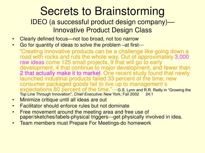 Secrets to Brainstorming