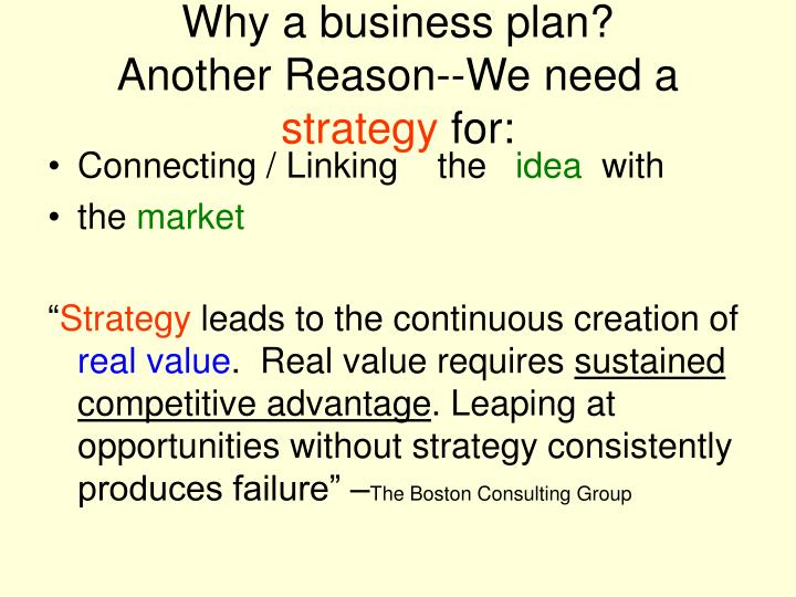 Why a business plan?