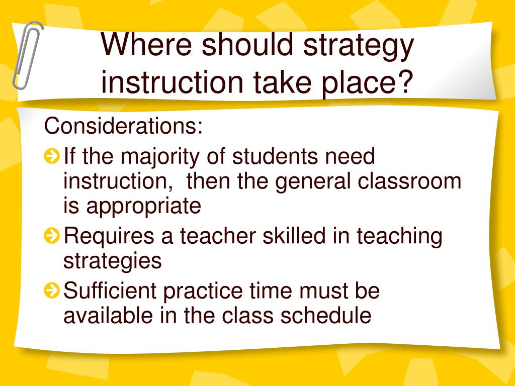 Where should strategy instruction take place?