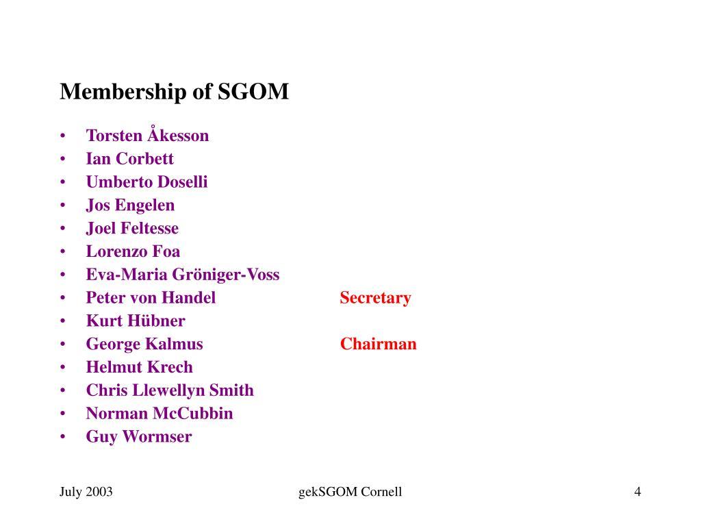 Membership of SGOM