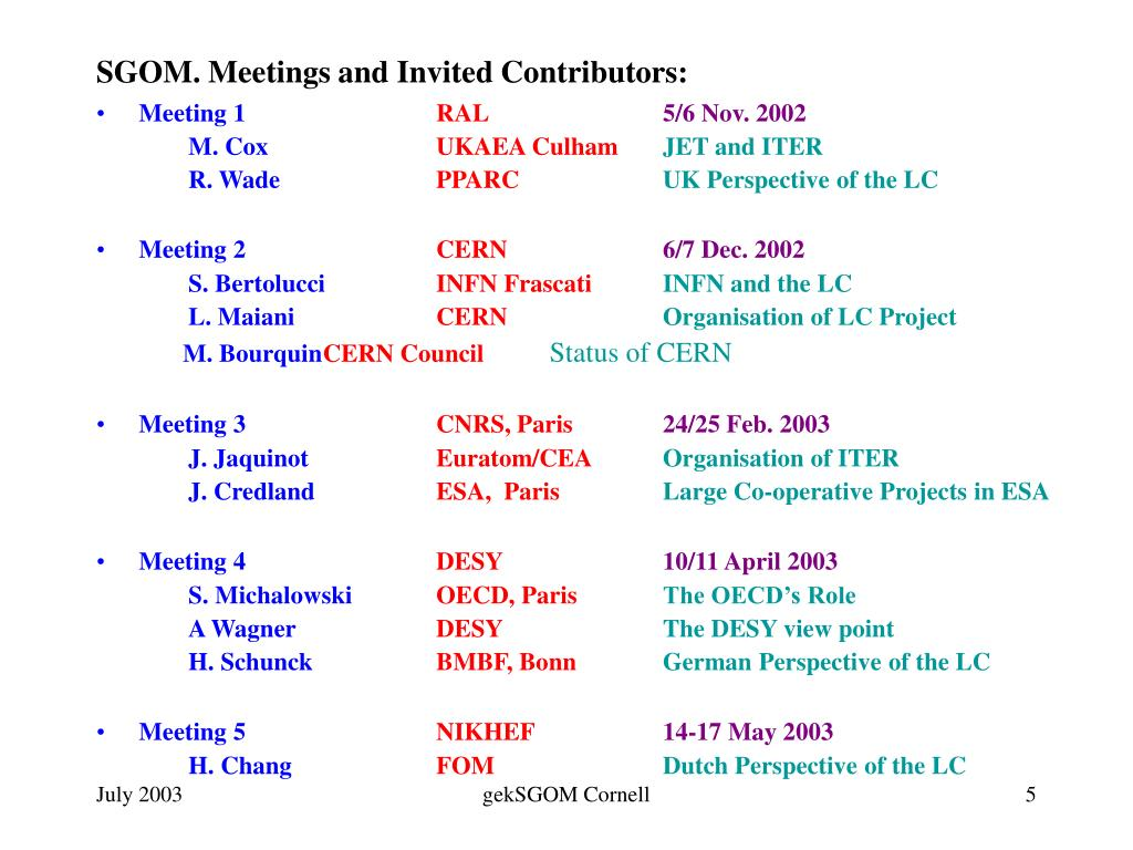 SGOM. Meetings and Invited Contributors: