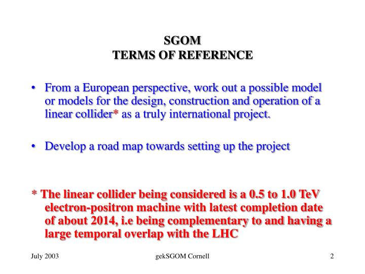 Sgom terms of reference