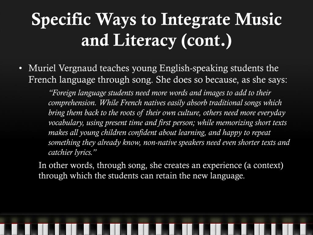 Specific Ways to Integrate Music and Literacy (cont.)