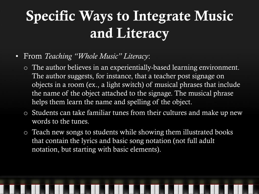 Specific Ways to Integrate Music and Literacy