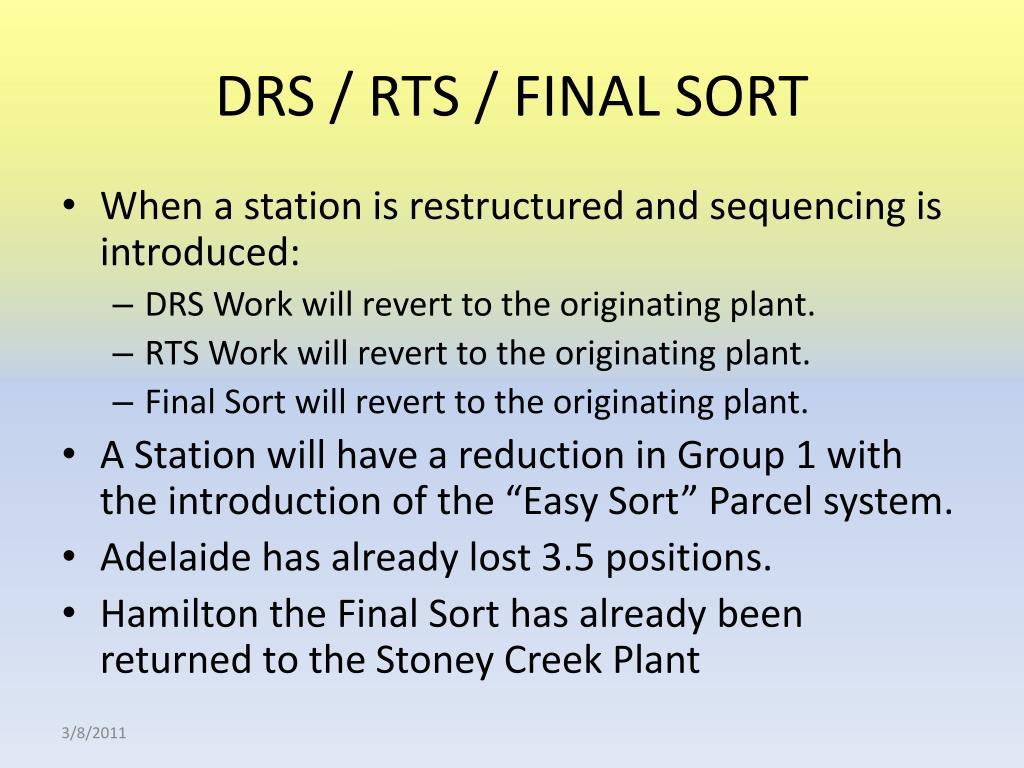 DRS / RTS / FINAL SORT