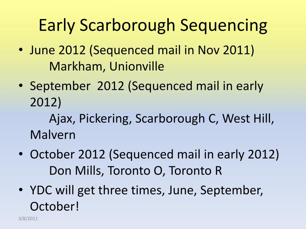 Early Scarborough Sequencing