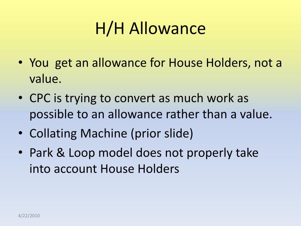 H/H Allowance