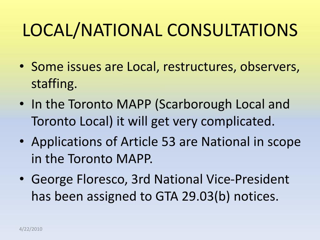 LOCAL/NATIONAL CONSULTATIONS