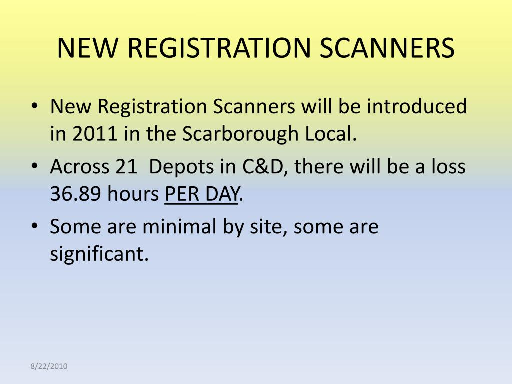 NEW REGISTRATION SCANNERS