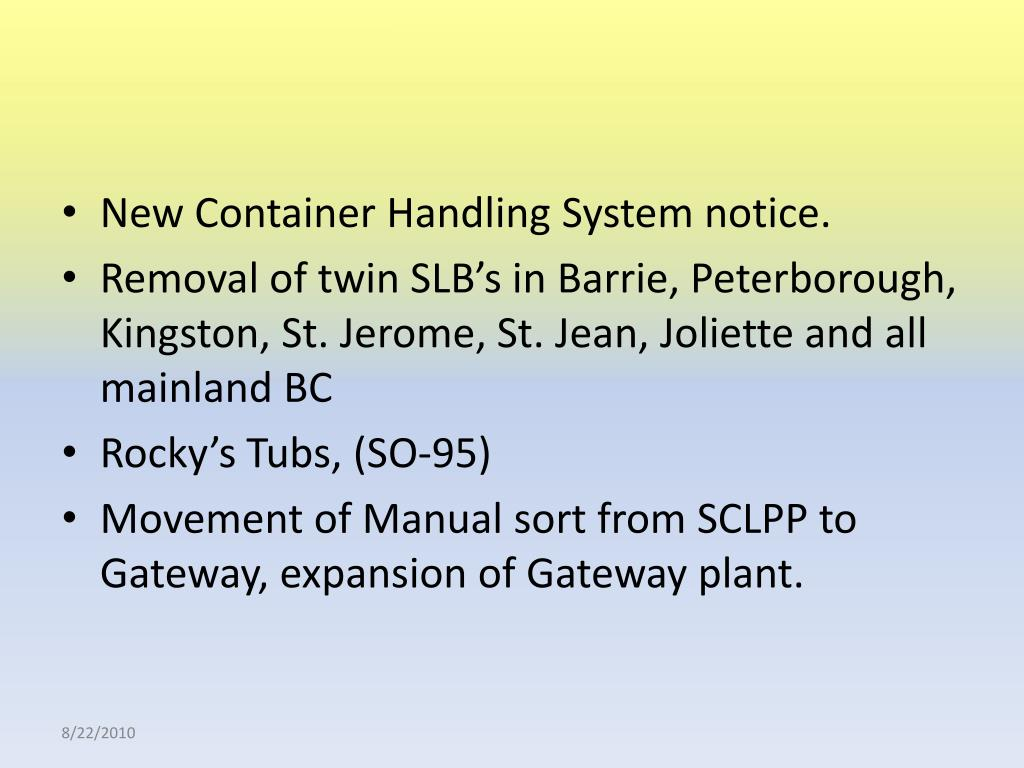 New Container Handling System notice.