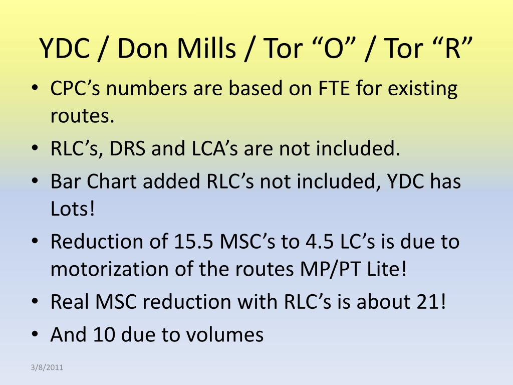 "YDC / Don Mills / Tor ""O"" / Tor ""R"""