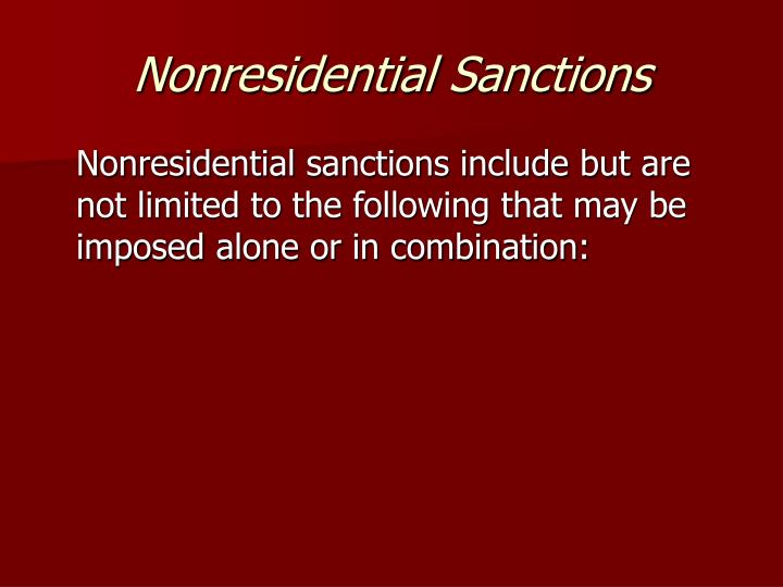 Nonresidential Sanctions