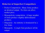 behavior of imperfect competitors