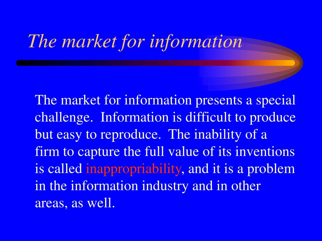 The market for information