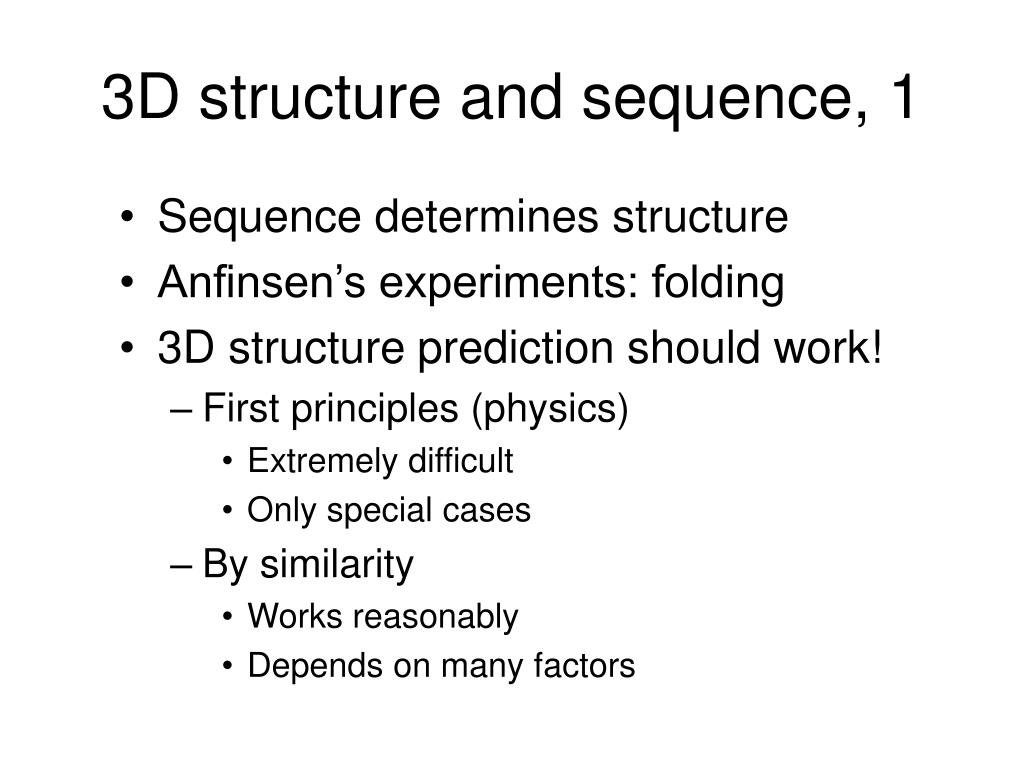 3D structure and sequence, 1