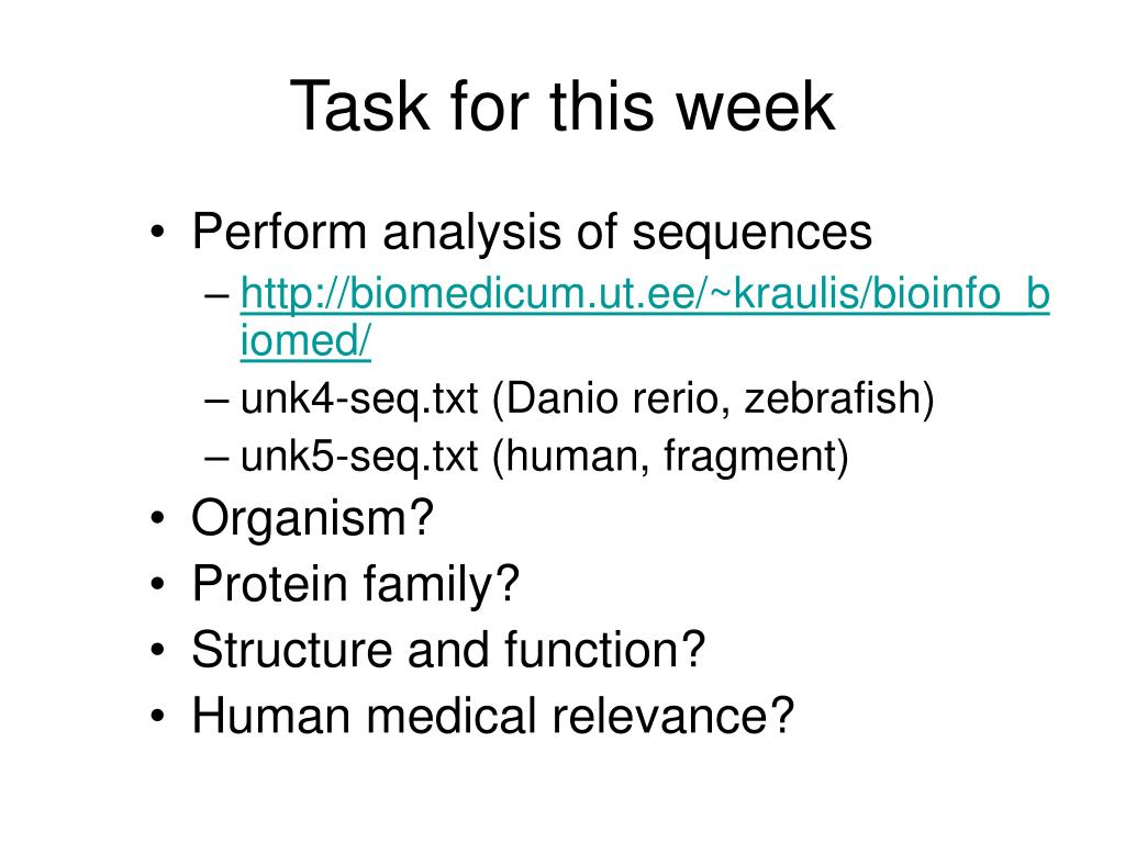 Task for this week