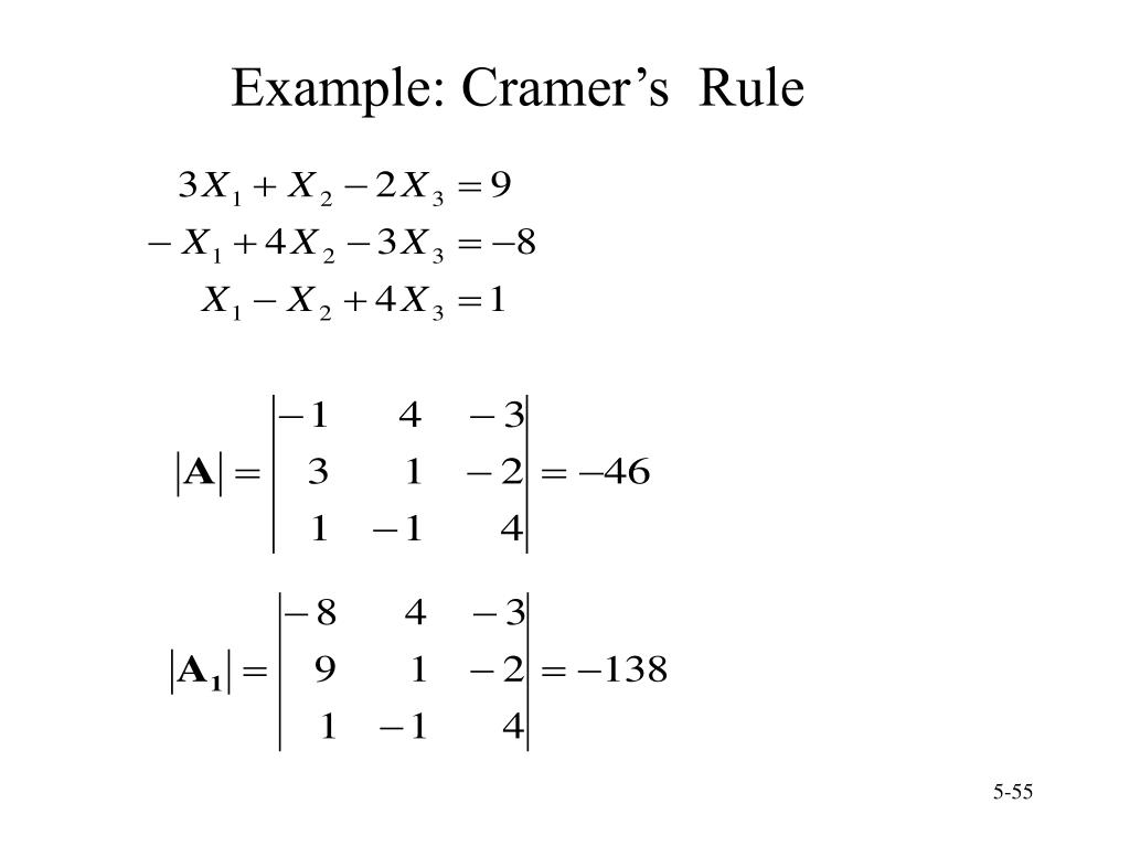 Example: Cramer's  Rule