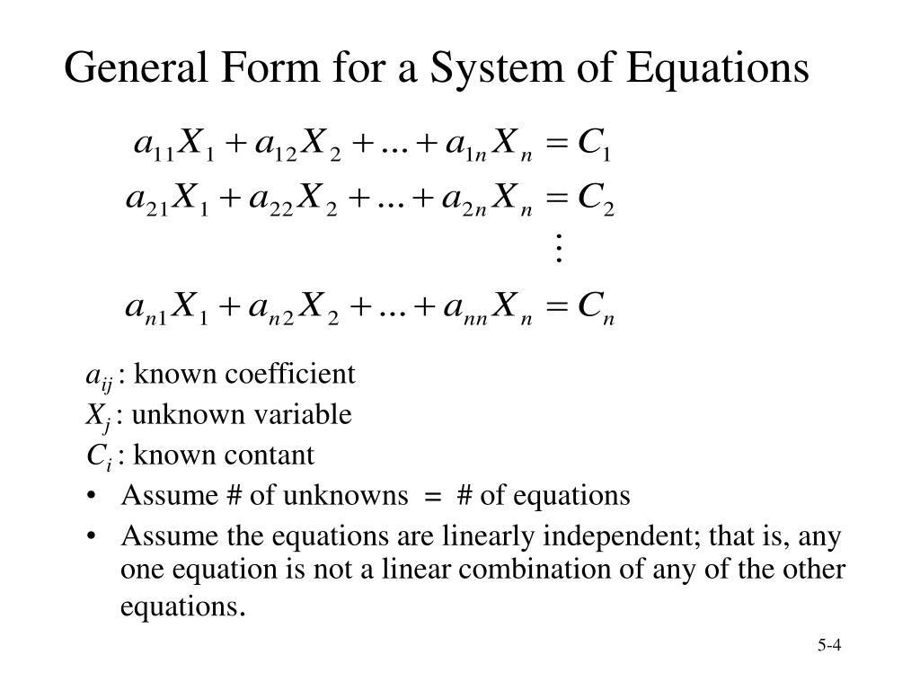 General Form for a System of Equations