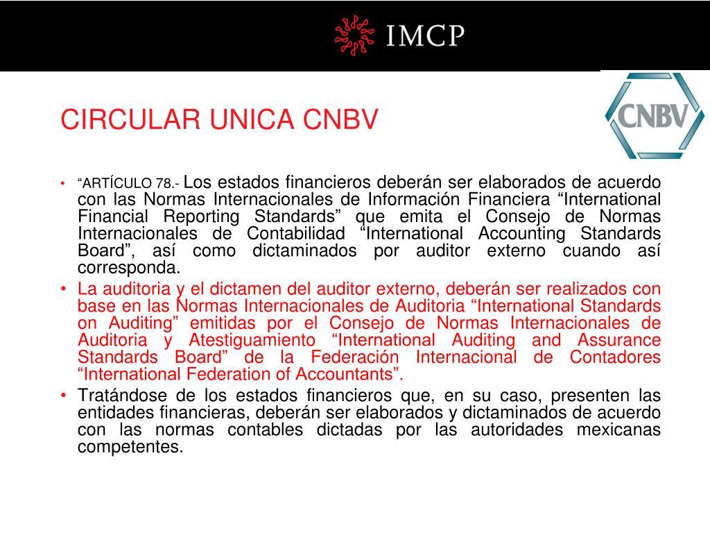 CIRCULAR UNICA CNBV