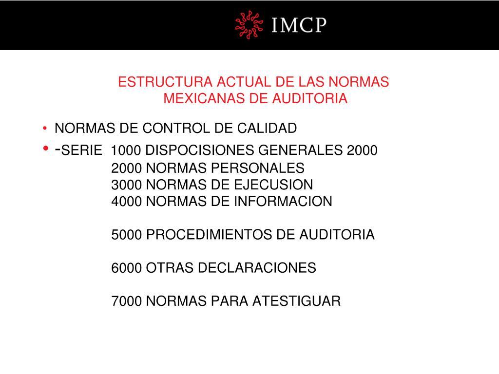 ESTRUCTURA ACTUAL DE LAS NORMAS